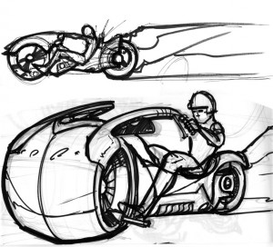 Tron light cycle sketch 1